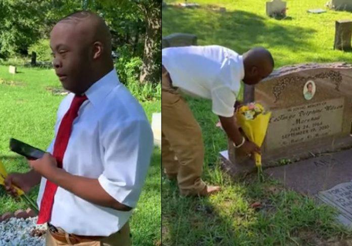 Paul Jr agradece no túmulo da mãe - Fotos: reprodução / Facebook