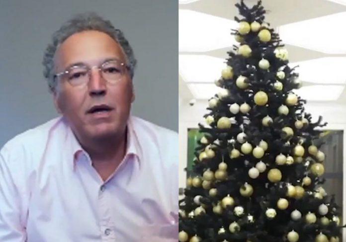 Nizan e a árvore montada na empresa - Fotos: reprodução / Instagram