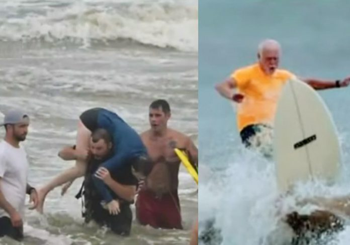Uma das resgatadas e Johnny McGee surfando - Fotos: Mike Westmoreland