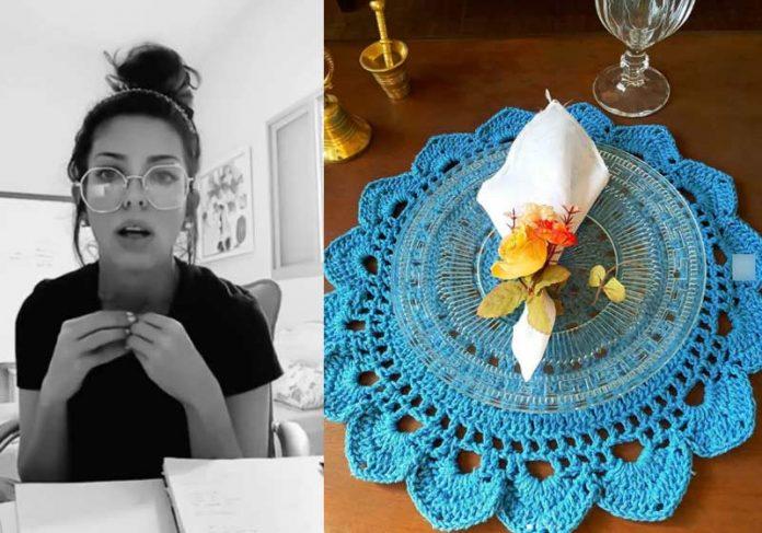 Carol Nobre e sousplat de crochê - Fotos: reprodução / Instagram