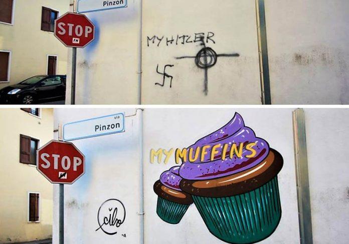 Grafite encobre suástica - Foto: Instagram