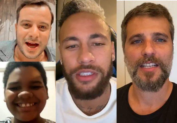 Fritz, Adriel, Neymar e Bruno - Fotos: reprodução / Instagram