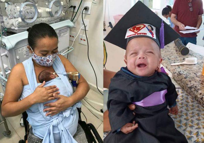 Kelvin recém-nascido e agora - Fotos: arquivo pessoal/Selma Barbosa