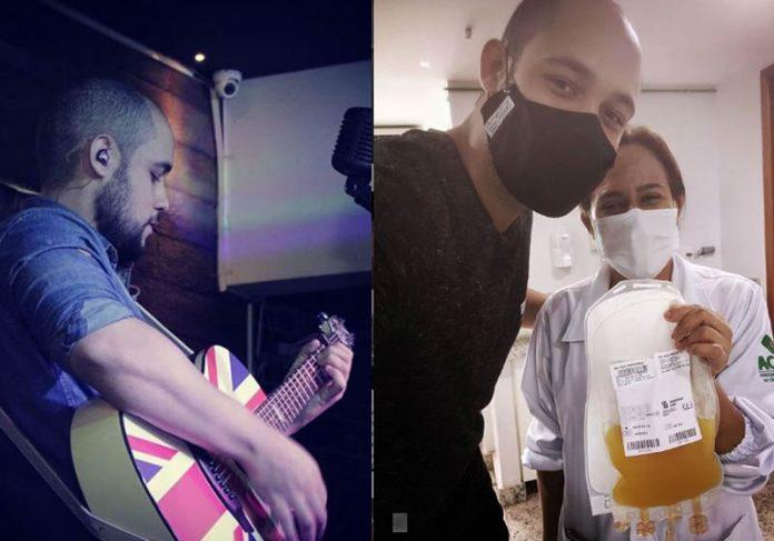 Gabriel Totti no estúdio e no banco de sangue - Fotos: Instagram