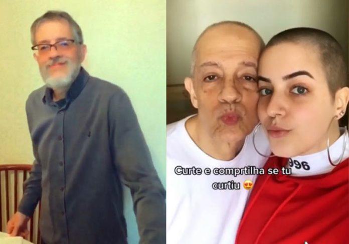 Oscar e Natália após rasparem os cabelos - Fotos: reprodução / Instagram