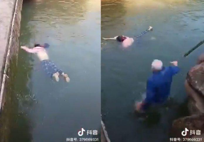 Cônsul pula no rio para resgatar jovem na China - Fotos: reprodução / TikTok