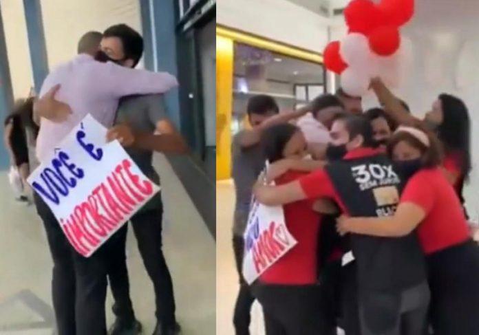 Funcionários em apoio ao Bruno - Foto: reprodução / Instagram