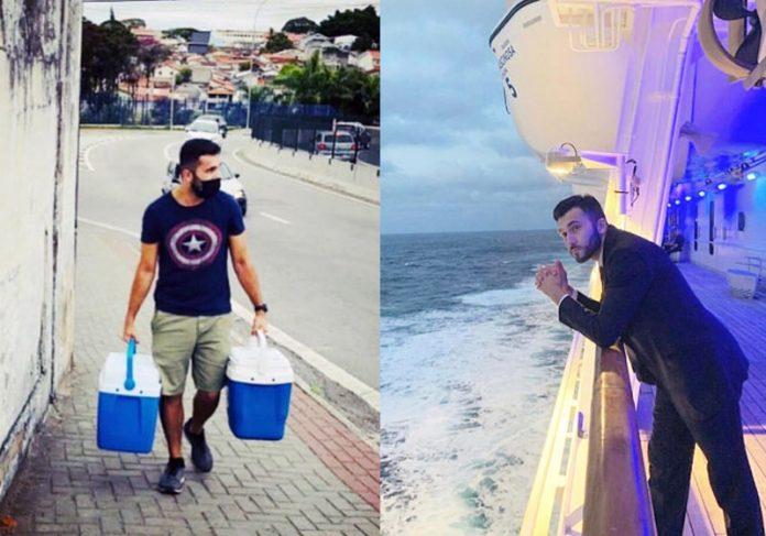 Fernando vendendo queijo e no navio - Fotos: arquivo pessoal