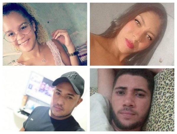 Os irmãos Natália, Fernanda, Diego e Clécio - Fotos: reprodução