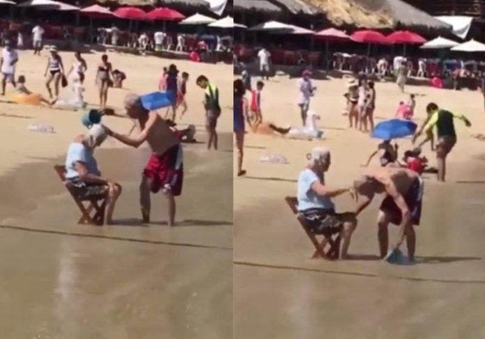 Idosos se banham na praia - Fotos: reprodução / Youtube