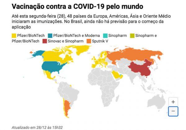 Países que estão vacinando - Foto: Datawrapper / 28/12/2020