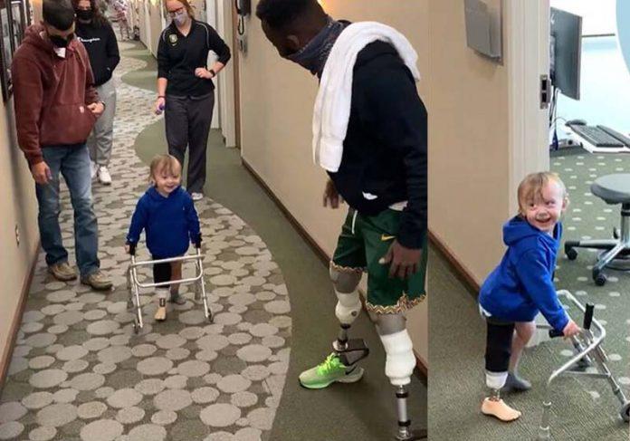 Blake Leeper's encoraja menino com prótese - Fotos: reprodução / Karl Torp / Facebook