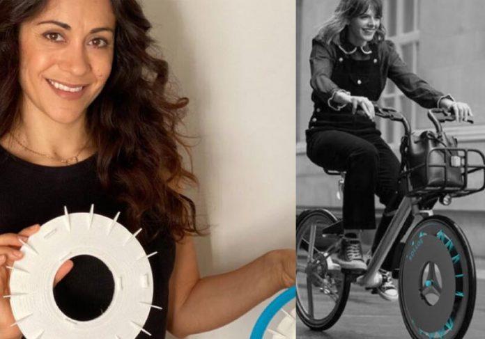 Kristen e o filtro para bike - Fotos: divulgação