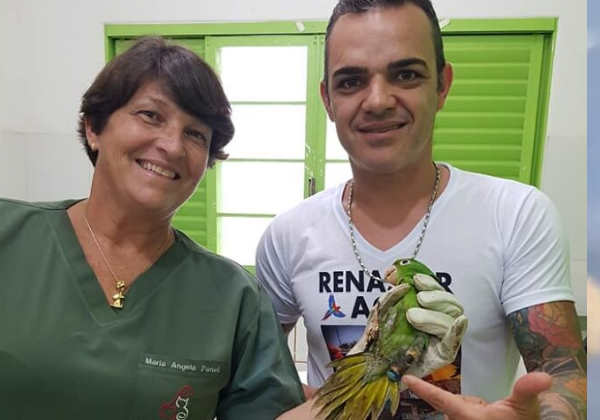 A Dra Maria Ãngela e Paulo Roberto com o papagaio Foto: Instagram