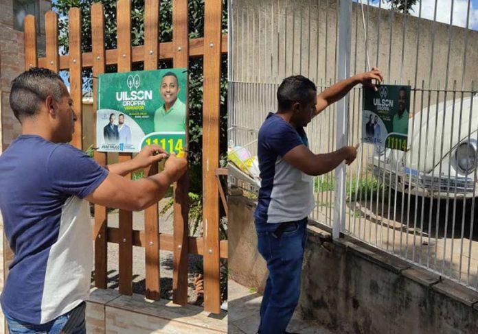 Uilson recolhendo placas da campanha - Fotos: arquivo pessoal