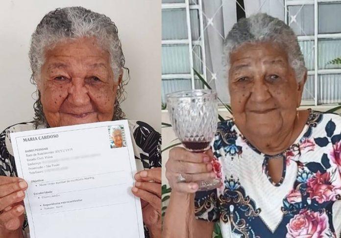 Dona Maria, o currículo e o adorado vinho - Fotos: Pâmela Cristina Matias Gomes/Arquivo pessoal