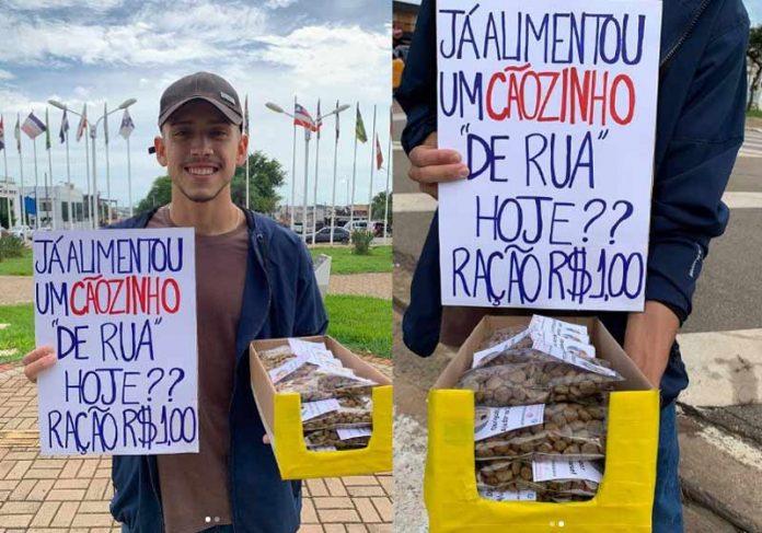 Lucas vendendo ração no semáforo - Fotos: reprodução / Instagram