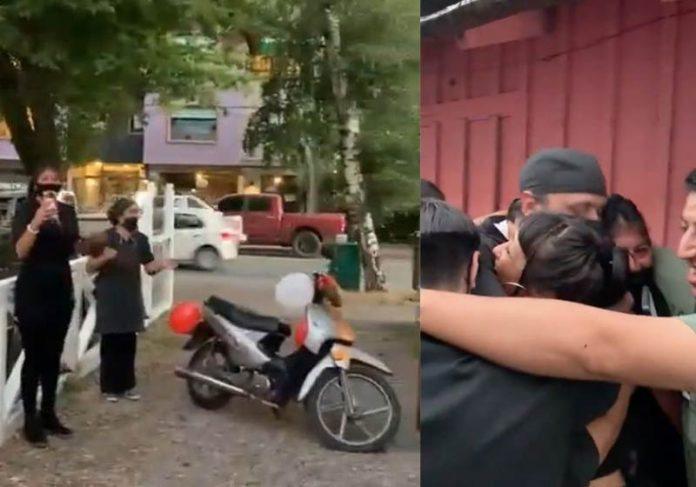 Surpresa da entrega da moto a Walter - Foto: TW @ Asdfg4417
