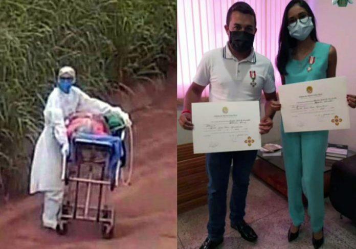 Enfermeira e motorista que salvaram idosa na Transamazônica - Fotos: arquivo pessoal