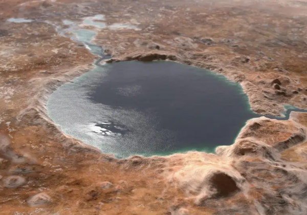 Ilustração da cratera de Jezero onde o Perse pousou nesta quinta Foto: NASA