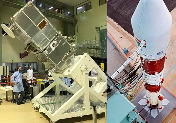 Satélite Amazonia 1 e o foguete indiano - Fotos: INPE e ISRO