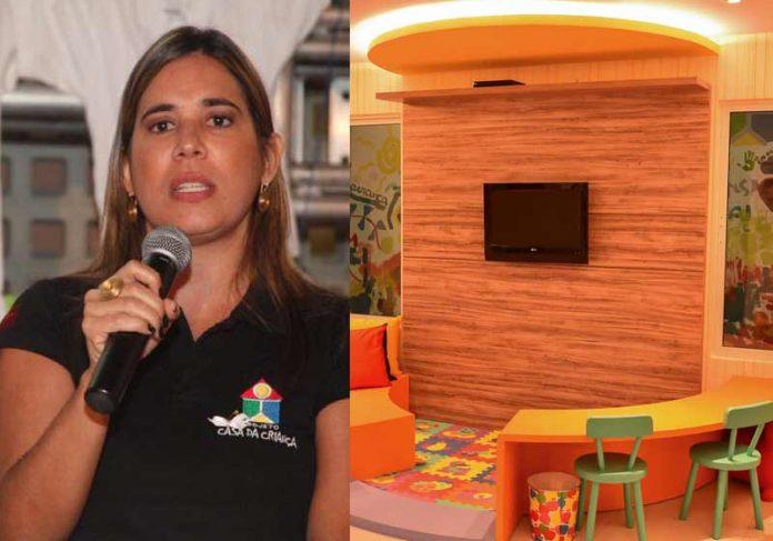 Patrícia Chalaça e uma das casas construídas - Foto: divulgação