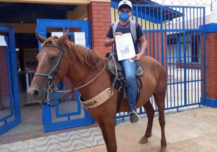 Estudante Lorran Dias dos Santos, de 13 anos, busca atividades com a égua dele no colégio em Luziânia — Foto: Reprodução/Arquivo Pessoal