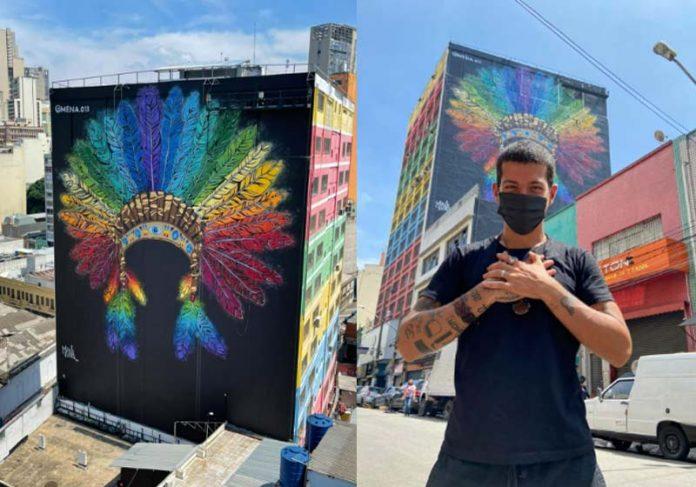 Cocar do Arco-íris na 25 de Março pintado pelo Mena - Fotos: @alexandremfotografia