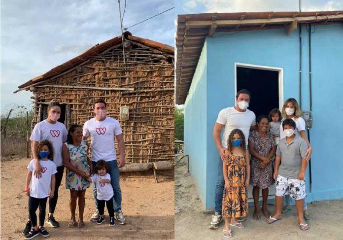 Wesley e Thyane na antiga entregam casa mobiliada para dona Mimi. - Foto: reprodução Instagram Wesley Safadão