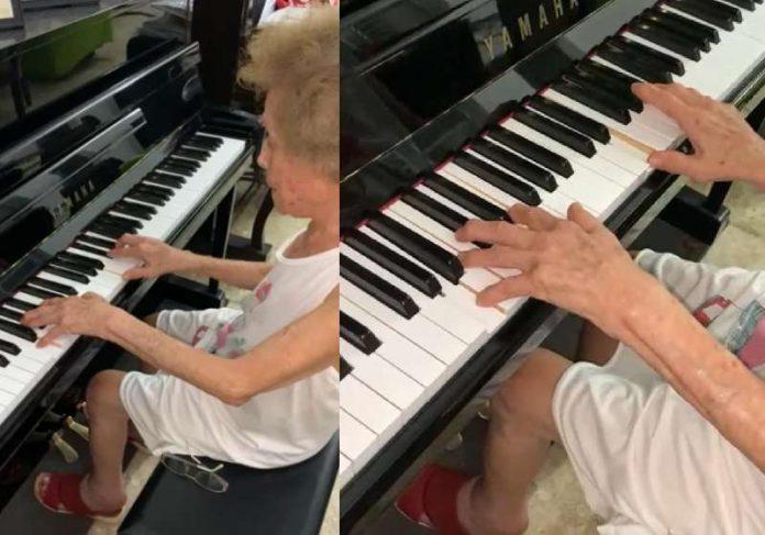 A pianista Hildete Marques, de 97 anos, tocando Carinhoso - Foto: reprodução / Instagram