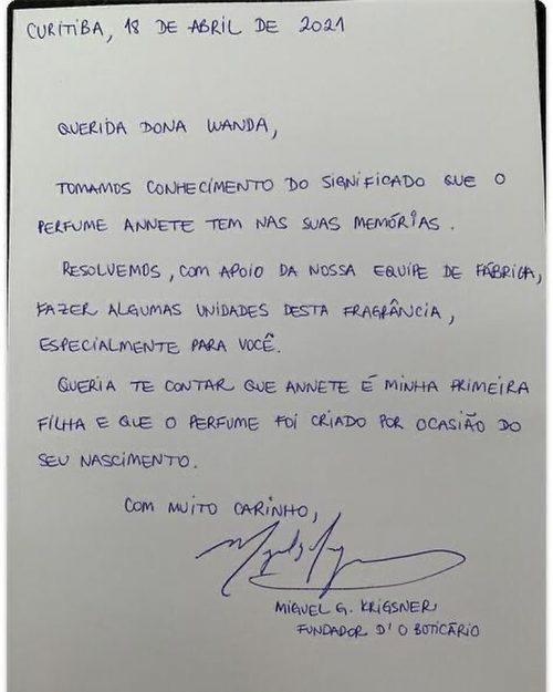 Carta enviada pelo fundador de OBoticário - Foto: reprodução Twitter /DCM
