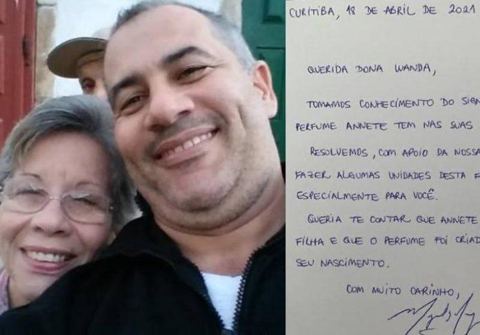 Dona Wanda, o filho e a carta enviada pelo Boticário - Fotos: reprodução / Twitter DCM