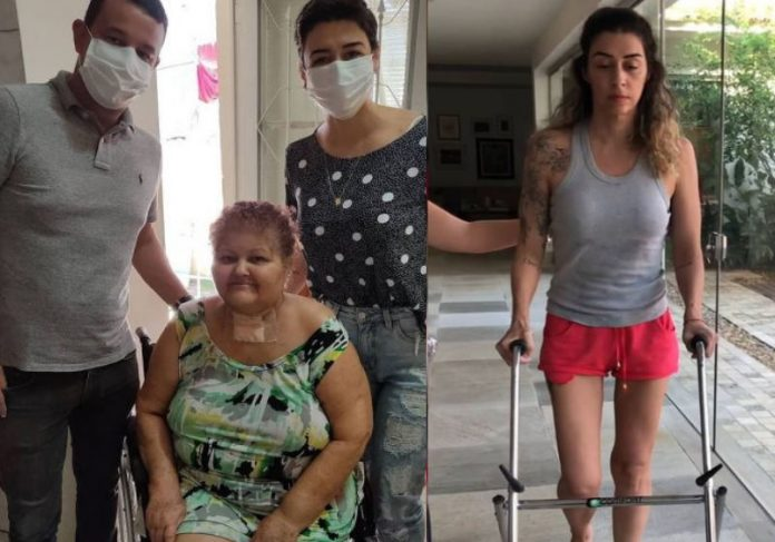 A dentista Raquel Trevisi ajudando novas vítimas e se recuperando da Covid (à esquerda) Foto: Instagram