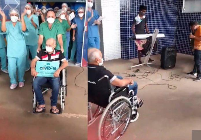 Seu José tem alta e filho canta forró na porta do hospital - Fotos: reprodução / Instagram Ricardo Farias
