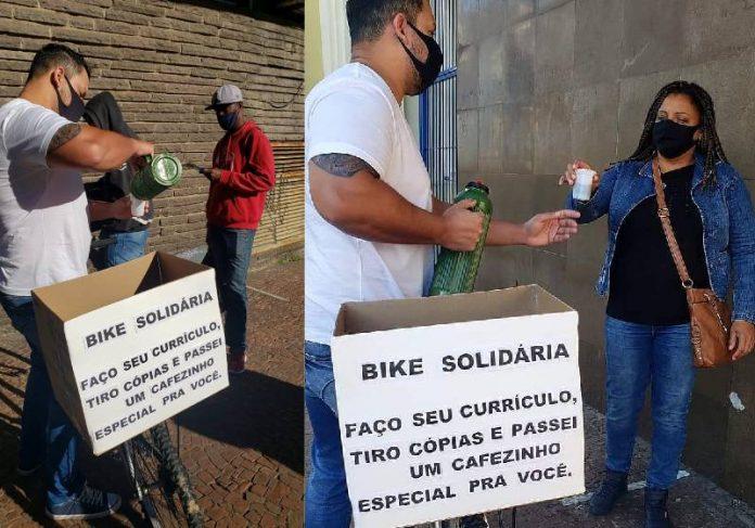 Kaká distribuindo cafezinho de graça na fila do emprego - Fotos: reprodução / Instagram