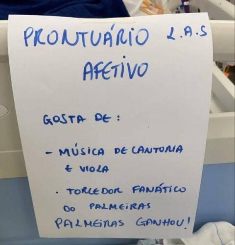 Bilhete identifica paciente com suas paixões no Hospital Universitário de Brasília (HUB) — Foto: Arquivo pessoal