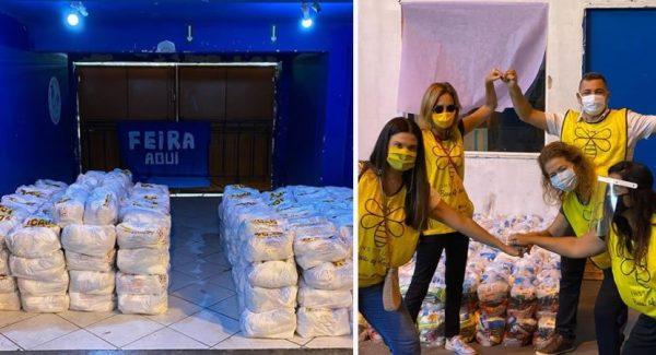 Doação de cestas básicas na Rocinha - Fotos: reprodução / Instagram @beesoflove
