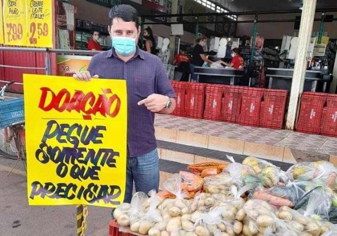 A doação de alimentos do supermercado já começou - Foto: reprodução / Instagram