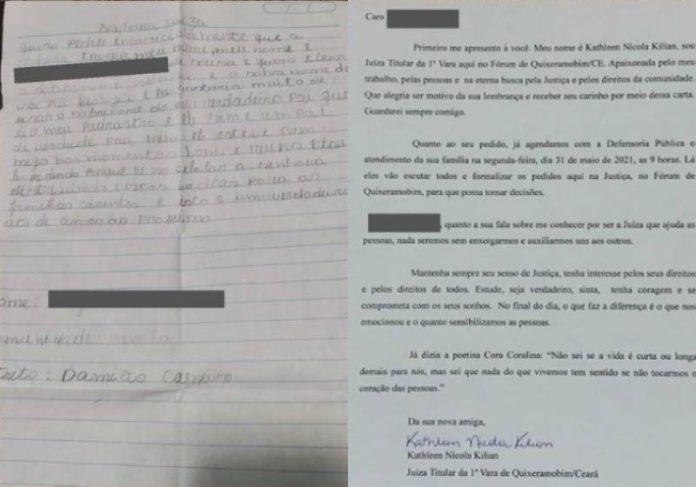 A carta do menino e a resposta da juíza - Fotos: reprodução