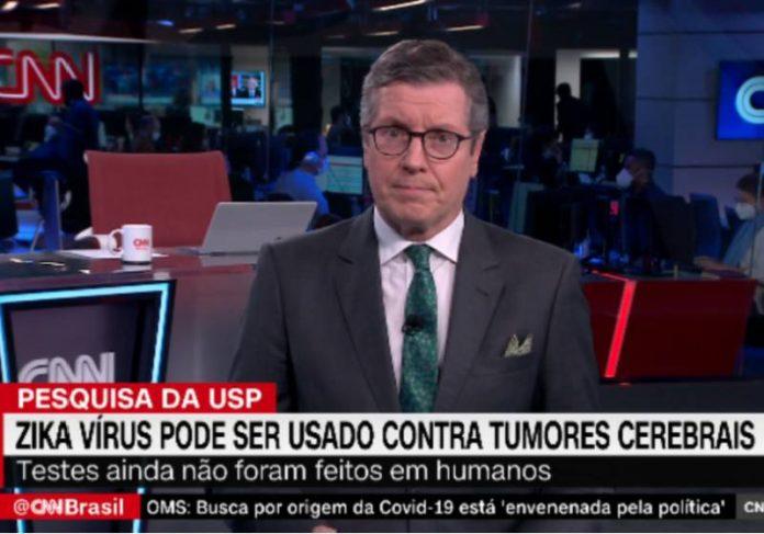 Jornalista Márcio Gomes, da CNN, apresenta reportagem sobre o tratamento brasileira com zika vírus contra câncer cerebral infantil - Foto: reprodução / CNN