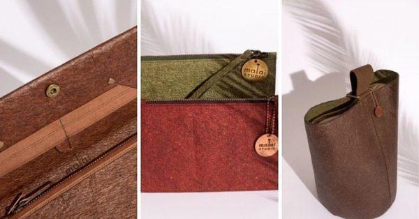 Bolsas e carteiras feitas com couro vegano - Roupas e bolsas feitas com couro vegano - Foto: Malai Biomaterials Design Pvt Ltd