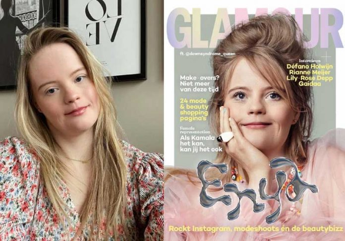 Enya é a primeira influenciadora com Síndrome de Down na Holanda a estampar uma capa de revista - Foto: reprodução Instagram downsyndrome_queen