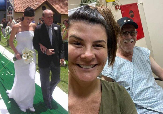 Patrícia Calderon no casamento e no hospital com o pai, seu José - Fotos: arquivo pessoal