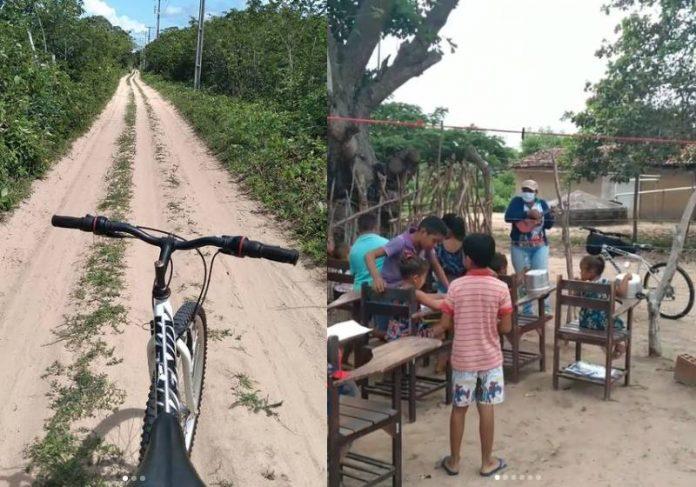 A estrada, a bike e alguns alunos da professora no Sertão - Fotos: reprodução / Instagram