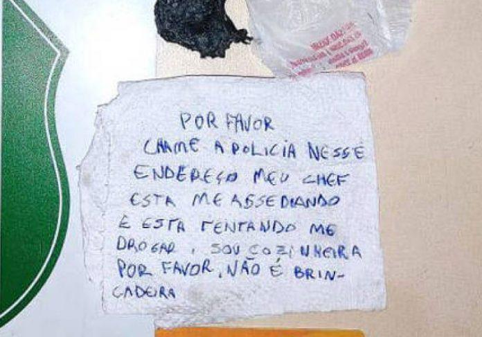 A cozinheira escreveu um bilhete pedido socorro e colocou dentro de um lanche. - Foto: Guarda Municipal de Chapecó