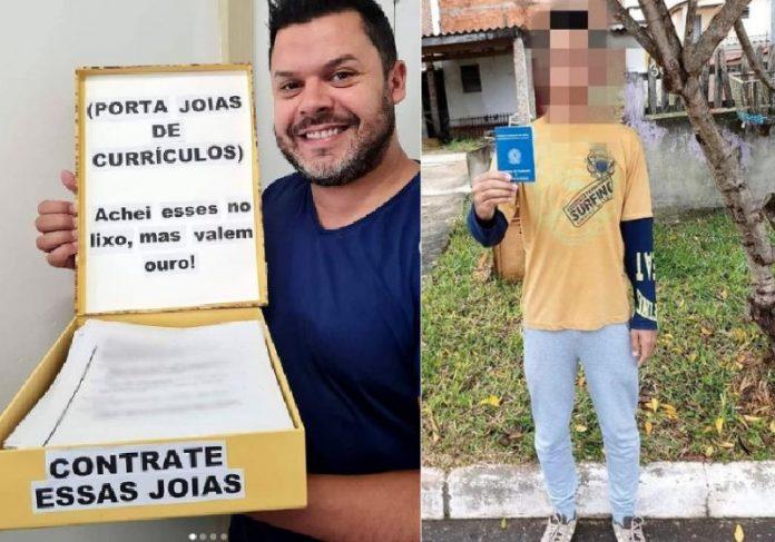 Kaká, os curriculos resgatados do lixo e um rapaz que arrumou emprego - Fotos: Instagram