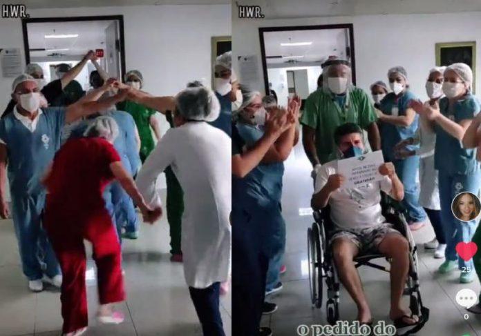 A equipe do HWR dançando quadrilha para comemorar alta do paciente - Fotos: reprodução / TikTok