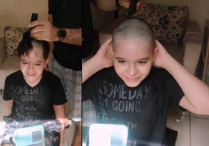 Heitor raspou os cabelos em videochamada para o Davi, que está internado com câncer - Fotos: reprodução / Instagram