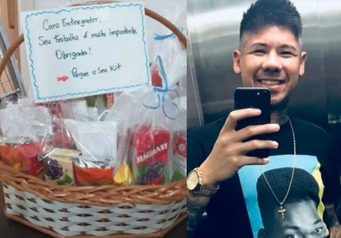 A cesta com Kit lanche que o Felipe recebeu de moradores em Santos - Fotos: reprodução / redes sociais