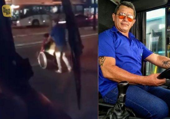 O motorista Marcos Paulo ajudando o senhor cadeirante a atravessar avenida em Fortaleza - Fotos: arquivo pessoal / Instagram